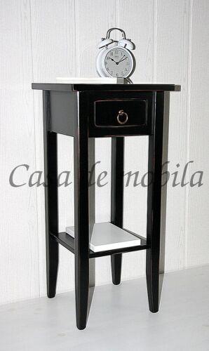 Beistelltisch-Massivholz-schwarz-Vintage