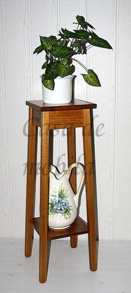Blumenhocker-Arte-Povera-honigfarben-massiv-mit-Ablageflaeche