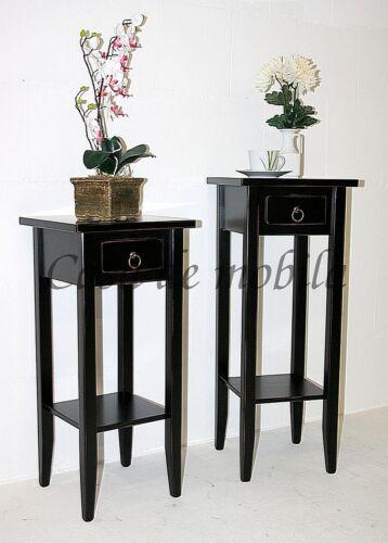 Blumenhocker-Set-Massivholz-schwarz-Vintage