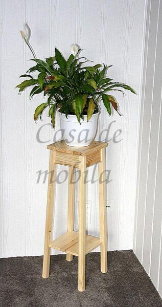 Blumenhocker-natur-lackiert-Arte-Povera-massiv-mit-Ablage