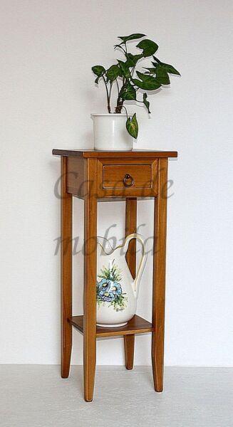 Blumentisch-Arte-Povera-honigfarben-massiv-mit-Schublade-und-Ablageflaeche
