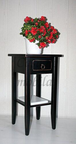 Blumentisch-vintage-schwarz-shabby-mit-Schubkasten