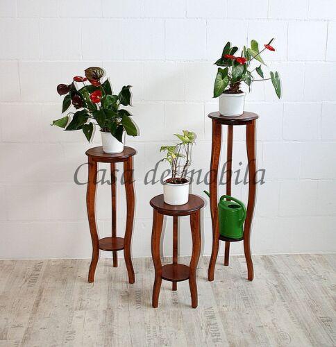 Blumentische-Set-kirschbaumfarben-3-Blumenstaender-aus-Massivholz