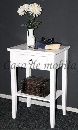 Nachttisch, Arte-Povera-Massivholz-weiss-mit-Schublade