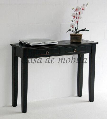 Telefontisch-Massivholz-schwarz-antik-mit-Schubladen